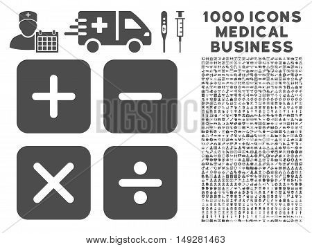 Gray Calculator icon with 1000 medical business vector design elements. Design style is flat symbols, gray color, white background.