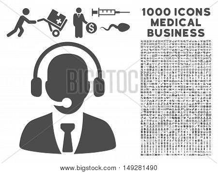 Gray Call Center icon with 1000 medical business vector design elements. Set style is flat symbols, gray color, white background.