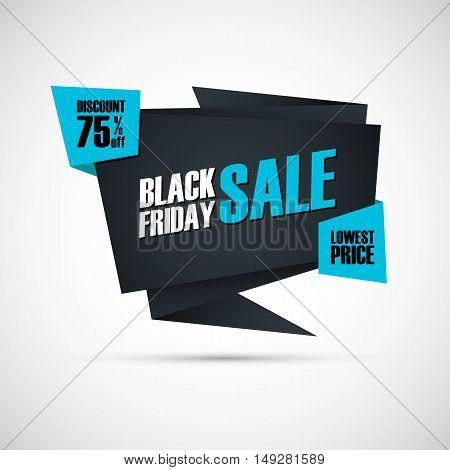 Black Friday Sale. Special offer banner, discount 75% off. Lowest price. Banner for business, promotion and advertising. Vector illustration.