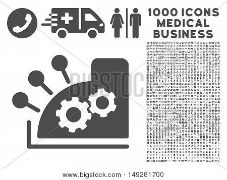 Gray Cash Register icon with 1000 medical business vector pictograms. Design style is flat symbols, gray color, white background.