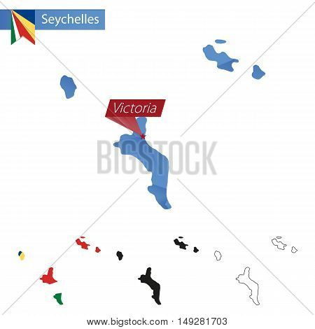 Seychelles Blue Low Poly Map With Capital Victoria.