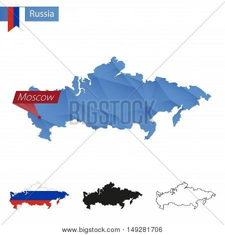 Russia Blue Low Poly Map With Capital Moscow.