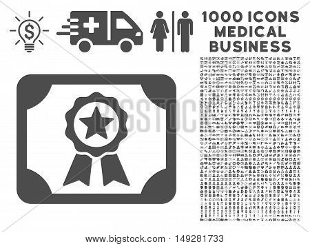 Gray Certificate icon with 1000 medical business vector pictograms. Set style is flat symbols, gray color, white background.