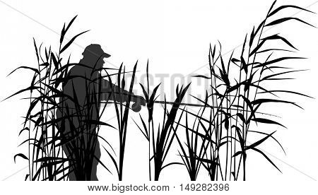 illustration with fisherman silhouettes isolated on white background