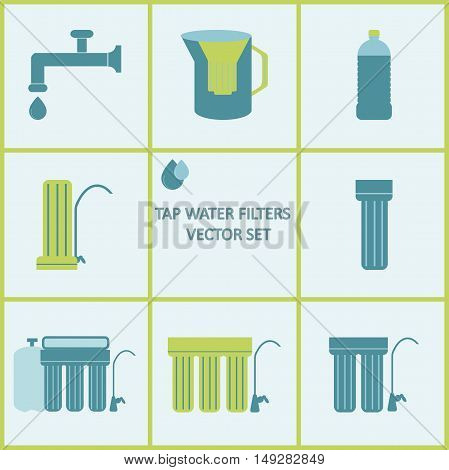 Tap water filter icon set. Drink water purification filters. Different tap water filtration systems for water treatment at your home