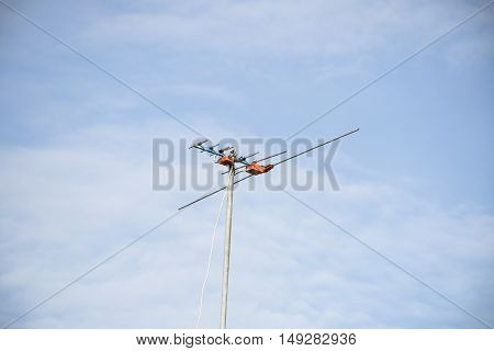 the televisions antennas with clear sky background.