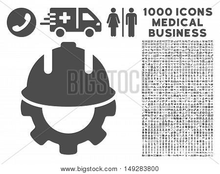 Gray Development icon with 1000 medical business vector pictographs. Collection style is flat symbols, gray color, white background.