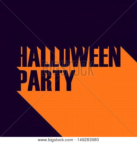 Inscription Halloween party with long shadow. Vector illustration.
