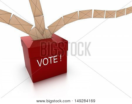 Ballot box in red with the word vote and multiple letters flying in from all directions isolated on white 3D illustration