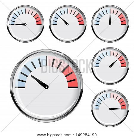 Thermometer. Round temperature gauge. For industrial use. Vector ilustration isolated on white background
