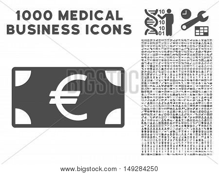 Gray Euro Banknote icon with 1000 medical business vector pictographs. Design style is flat symbols, gray color, white background.