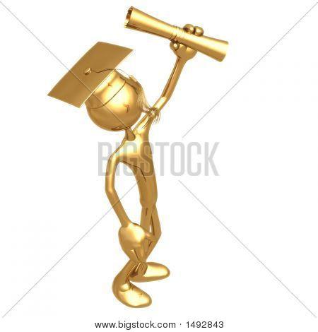 Gouden Grad Diploma afstuderen Concept houden