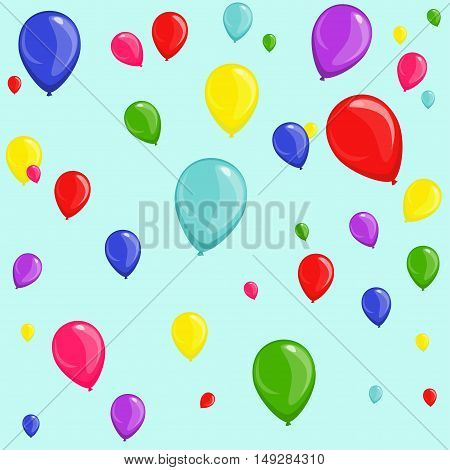 Seamless festive background of colorful multicolored balloons