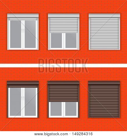 Windows with rolling shutters on red brick wall. Vector illustration