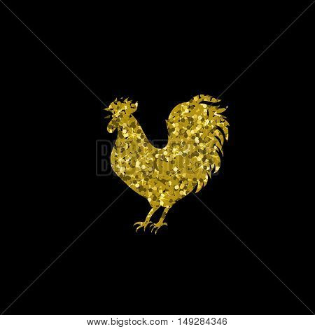 Gold glitter rooster on black background. Chinese calendar for the year of red rooster 2017. Rooster gold silhouette on black background.