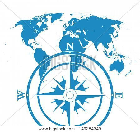 Blue similar blank flat world map. Infographic world map with compass