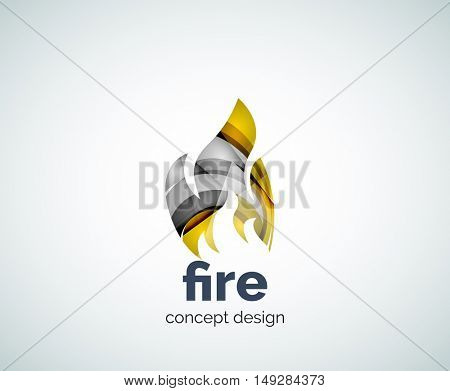 Fire logo template, abstract geometric glossy business icon