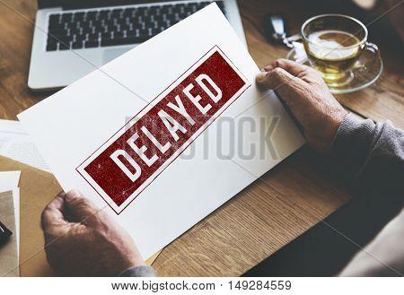 Delayed Banned Canceled Denied Stamp Label Mark Concept