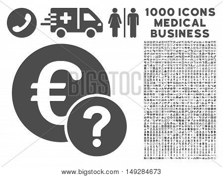 Gray Euro Status icon with 1000 medical business vector pictograms. Set style is flat symbols, gray color, white background.