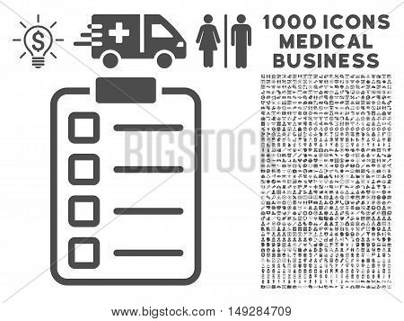 Gray Examination icon with 1000 medical business vector design elements. Collection style is flat symbols, gray color, white background.