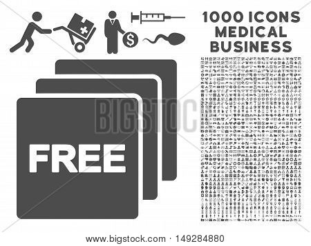 Gray Free icon with 1000 medical business vector pictograms. Set style is flat symbols, gray color, white background.