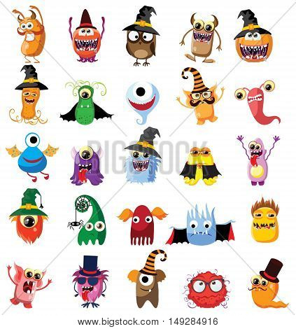 Halloween vector set of monsters, cute illustration for greeting card and invitation