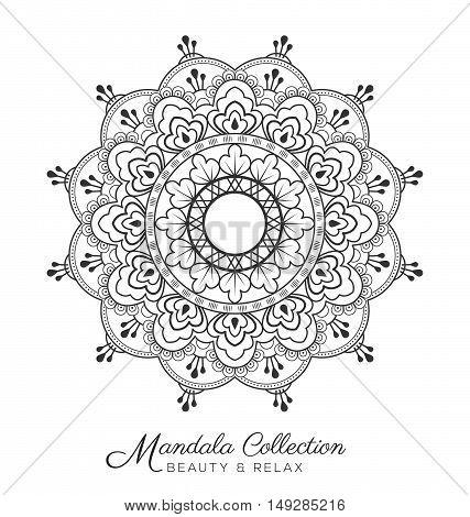 mandala decorative ornament design for coloring page greeting card invitation tattoo yoga and spa symbol. Vector illustration