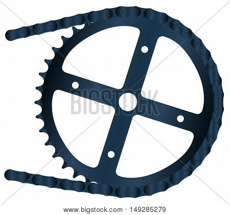 A bicycle chain and the driving gear over a white background
