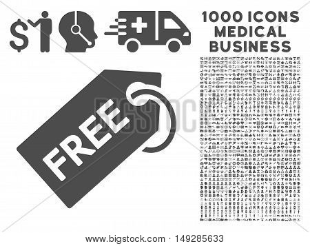 Gray Free Tag icon with 1000 medical business vector pictograms. Set style is flat symbols, gray color, white background.