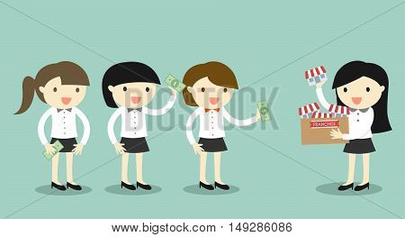 Business concept, Businessman woman is selling her franchise/shop to another business women. Vector illustration.