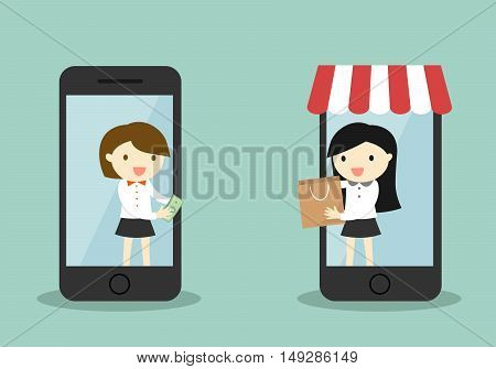 Business concept, Business woman buy something via smartphone, online shopping concept. Vector illustration.