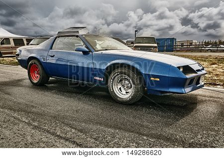Norway Drag Racing, Blue Race Car Side View