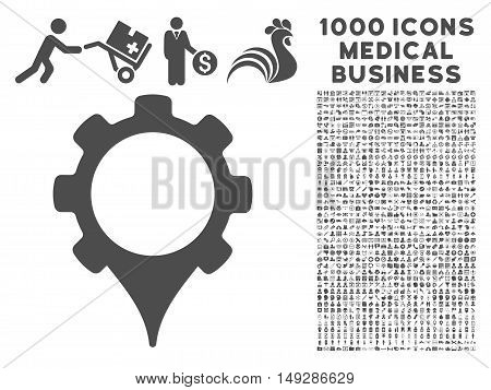 Gray GPS Settings icon with 1000 medical business vector design elements. Collection style is flat symbols, gray color, white background.