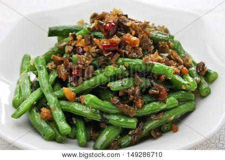 gan bian dou jiao, dry fried green beans, chinese sichuan cuisine