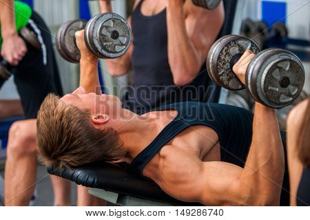 Group of men working on simulator his body at gym. Man with big biceps on foreground in sport gym.