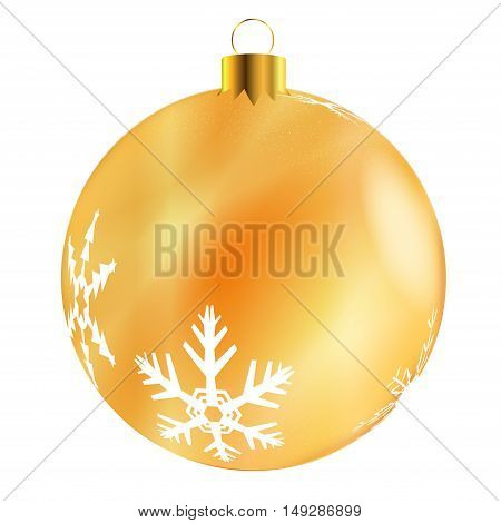 A glossy golden Christmas decoration with snowflake patterns isolatedon a white background.