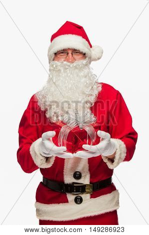 Santa Claus: Cheerful With Small Stack Of Gifts.