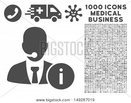 Gray Help Desk icon with 1000 medical business vector pictograms. Collection style is flat symbols, gray color, white background.
