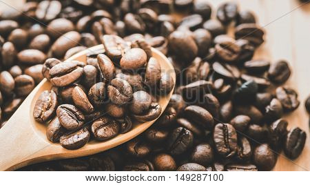 Coffee Beans Whit Wooden Spoon On Wood.. ,  Vintage