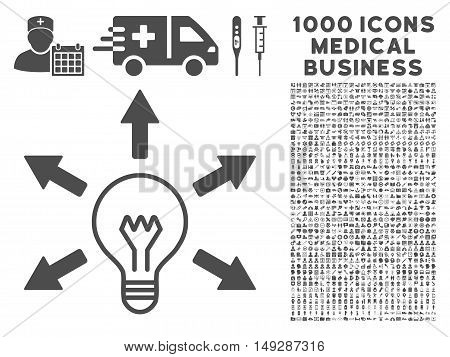 Gray Idea icon with 1000 medical business vector pictograms. Set style is flat symbols, gray color, white background.