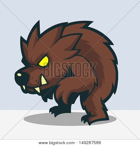 Lurking Werewolf  cartoon drawing with bold lines