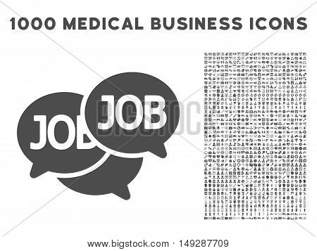 Gray Labor Market icon with 1000 medical business vector design elements. Design style is flat symbols, gray color, white background.