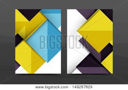 Square and triangle design. Colorful geometric A4 business print template. Brochure or annual report cover, business flyer layout, geometric abstract poster, identity illustration