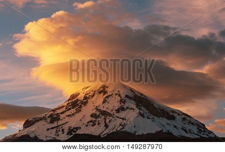High snowy mountains in Bolivia