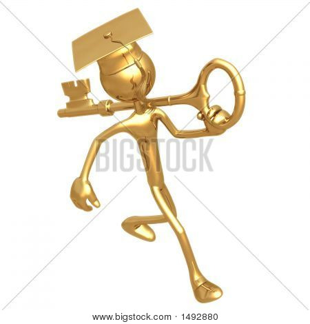 Golden Grad Carrying A Key Graduation Concept