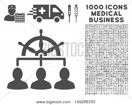 Gray Management icon with 1000 medical business vector pictographs. Design style is flat symbols, gray color, white background.