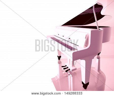 Pink grand piano on a white background. 3D illustration