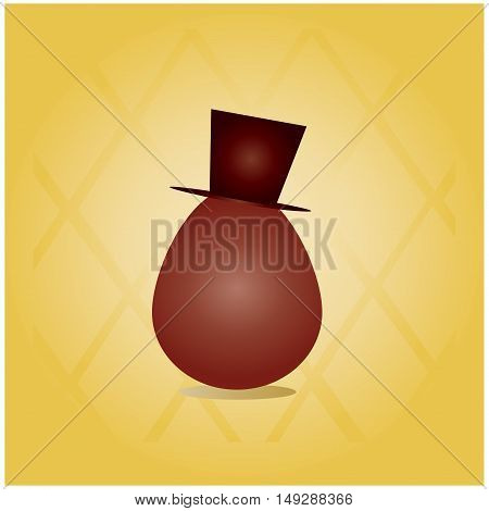 chocolate egg with a hat in white chocolate