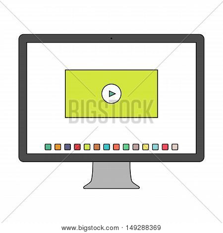 computer icon in the style thin line flat design isolated on white background. stock vector illustration eps10