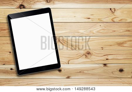 Tablet And Coffee Of Cup  On Wood Table.